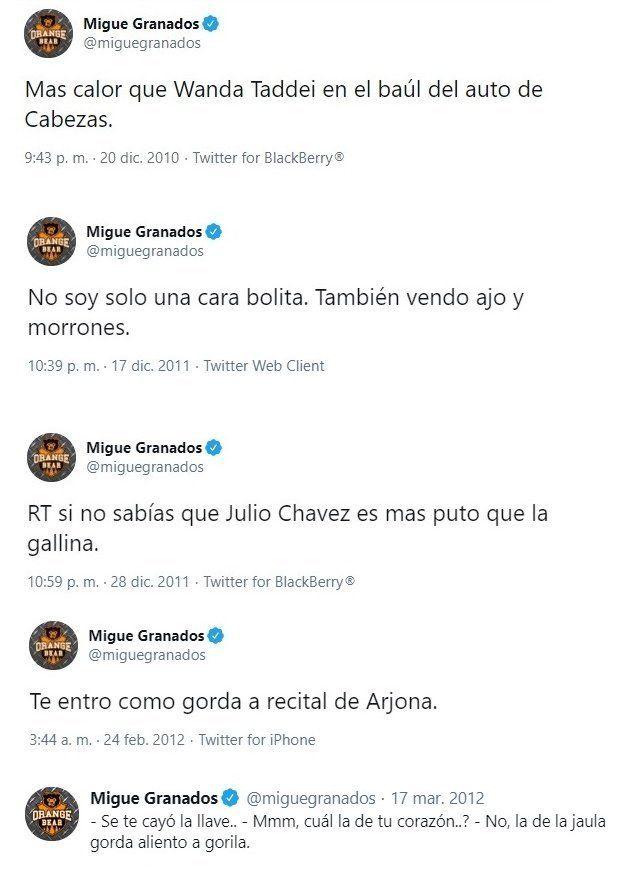 Los tuits xenófobos y gordofóbicos de Migue Granados.