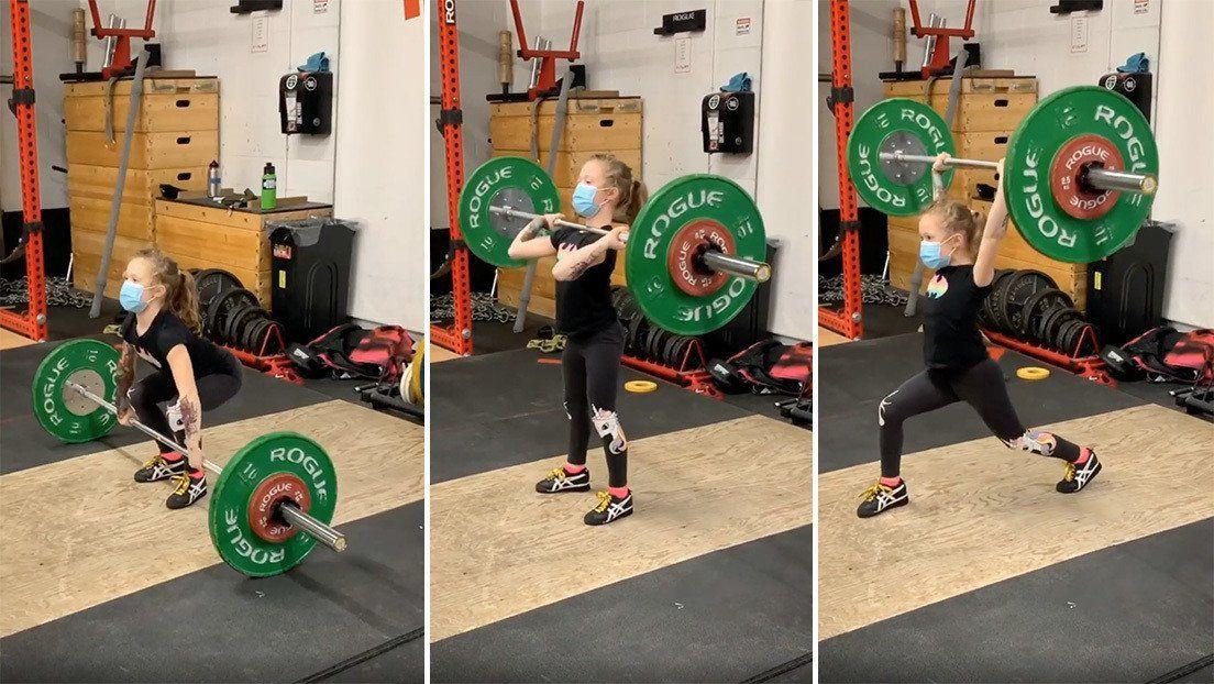 La nena más fuerte del mundo: tiene 7 años y levanta pesas de 80 kilos