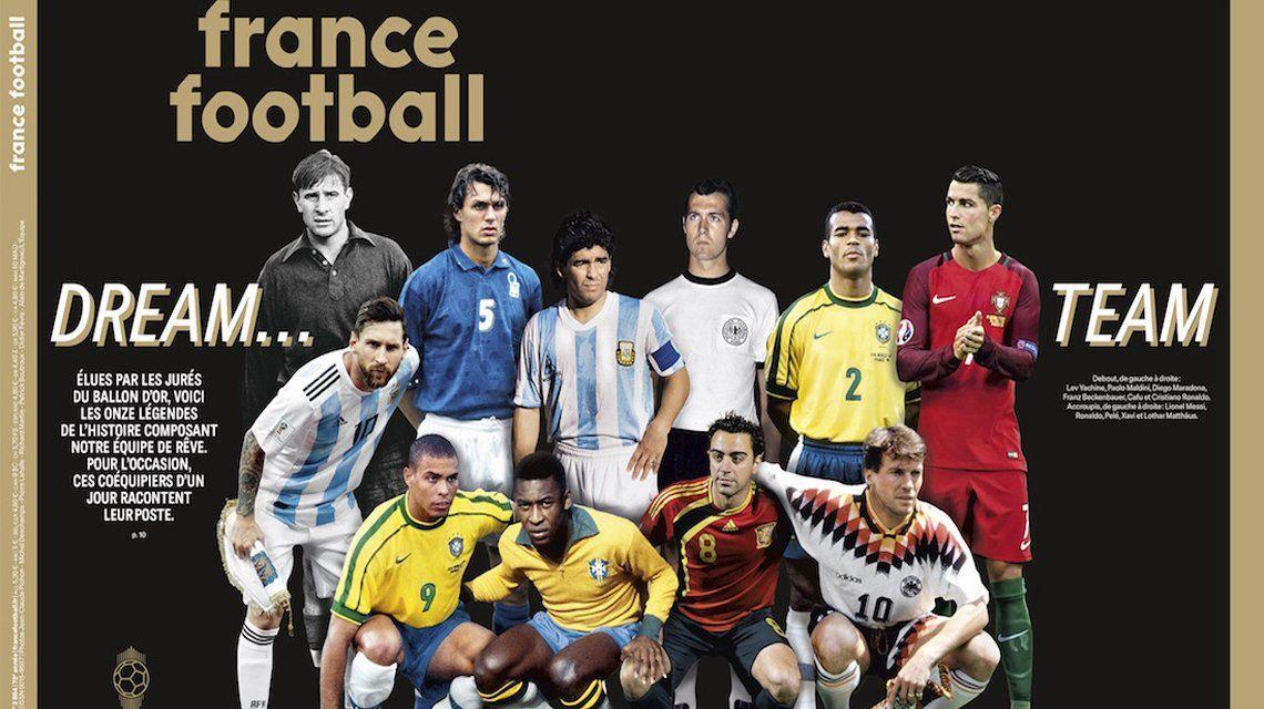Maradona y Messi en el mejor equipo de la historia.