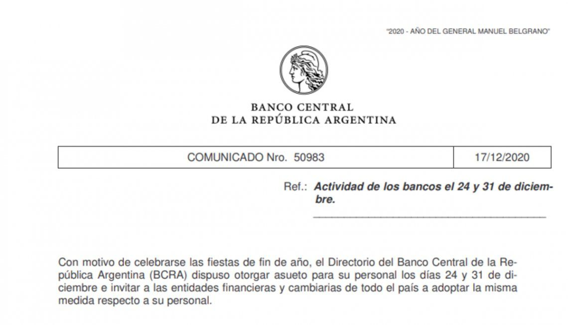 Comunicación del Banco Central en la que se invita a los bancos a adherirse al asueto del 24 y el 31 de diciembre