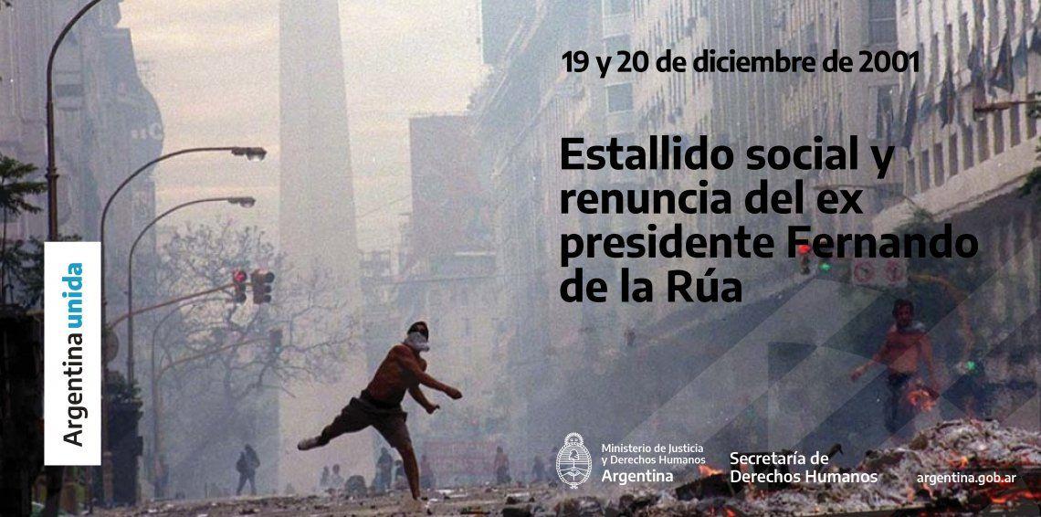 La Secretaría de DDHH recordó la represión del Gobierno de la UCR en 2001