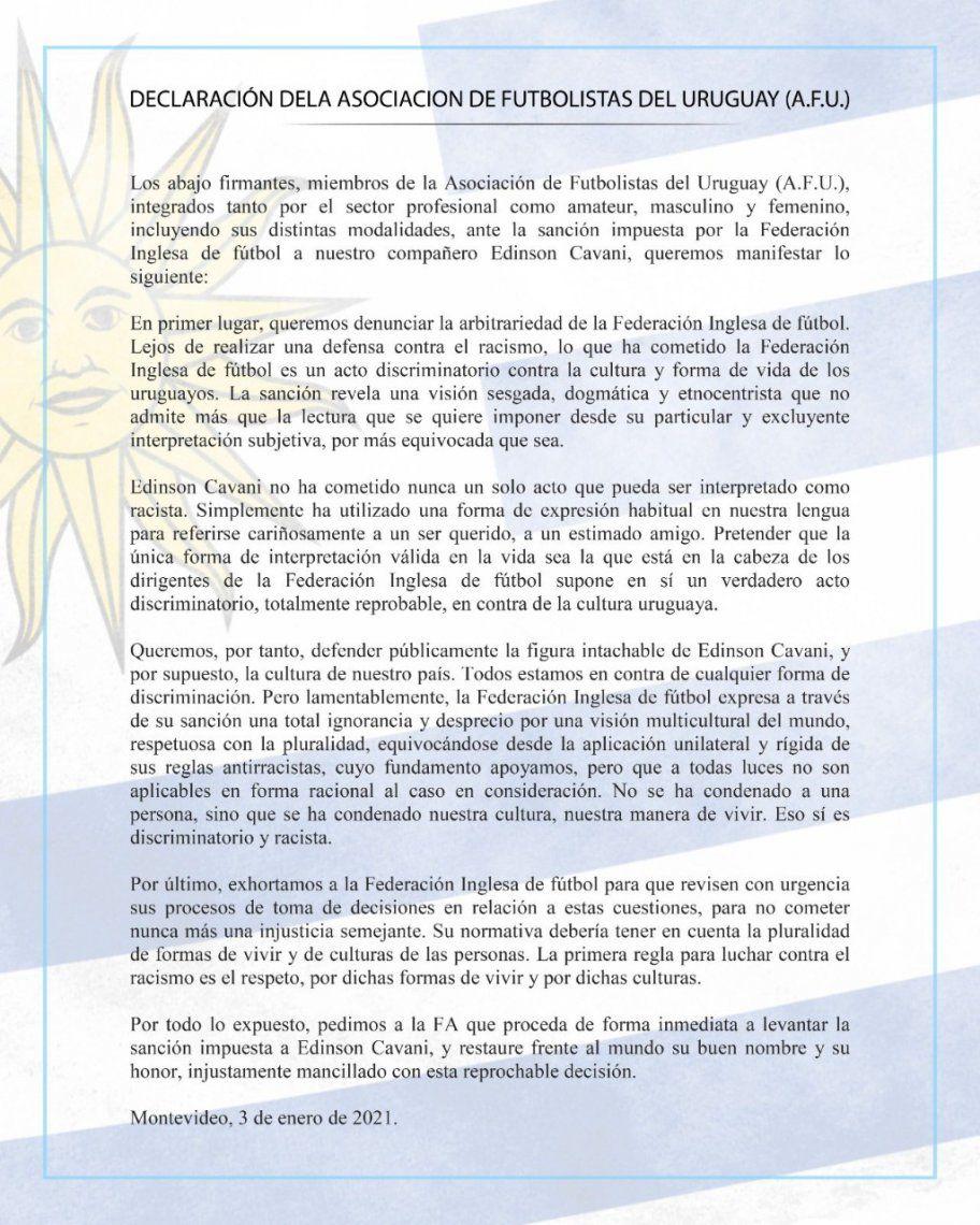 La declaración de La Asociación de Futbolistas del Uruguay sobre la sanción de Edinson Cavani.
