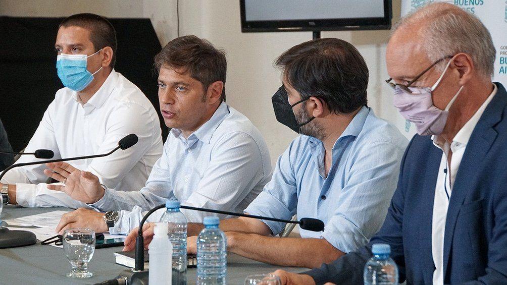 Kicillof en conferencia de prensa en San Bernardo