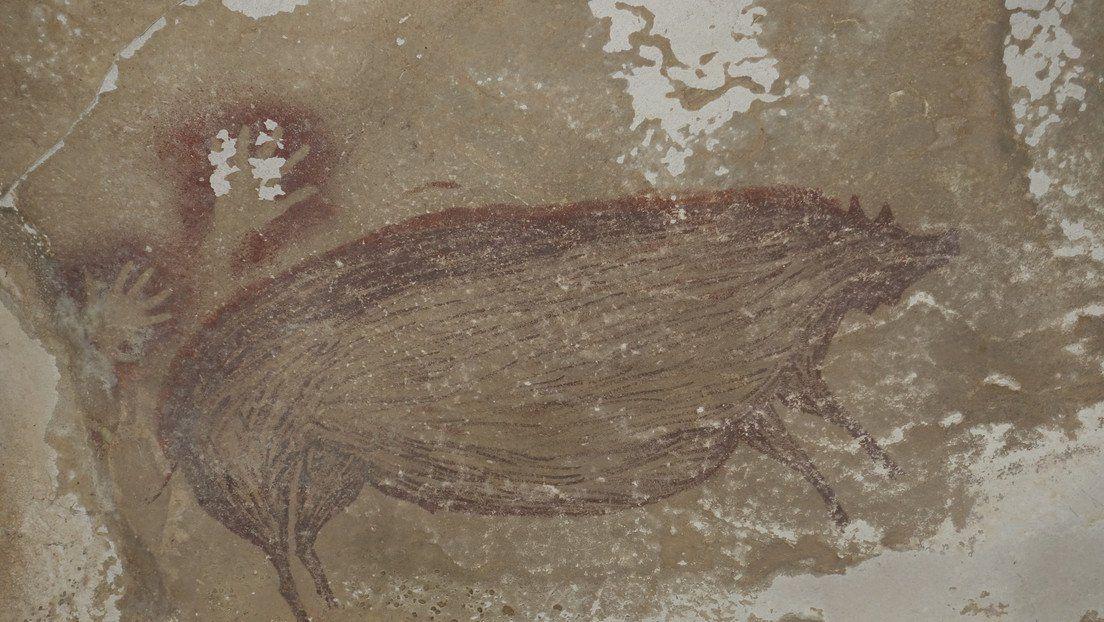 El dibujo descubierto en una cueva de Indonesia