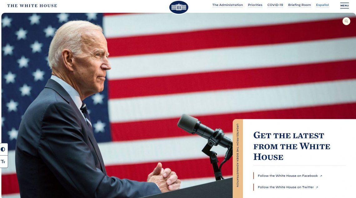 Tras la asunción de Biden, la web de la Casa Blanca publicó un mensaje oculto