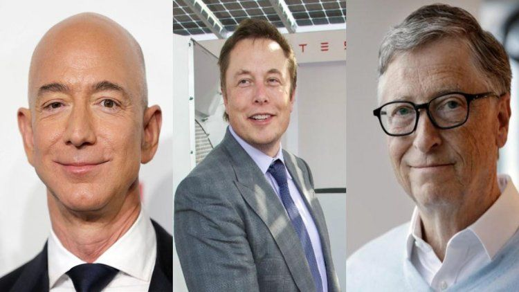 Jeff Bezos, Elon Musk y Bill Gates intregran la lista de las personas más ricas del mundo.