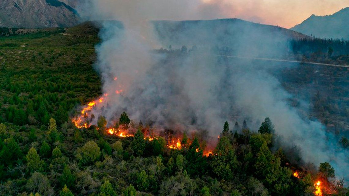 Feroz incendio forestal en El Bolson
