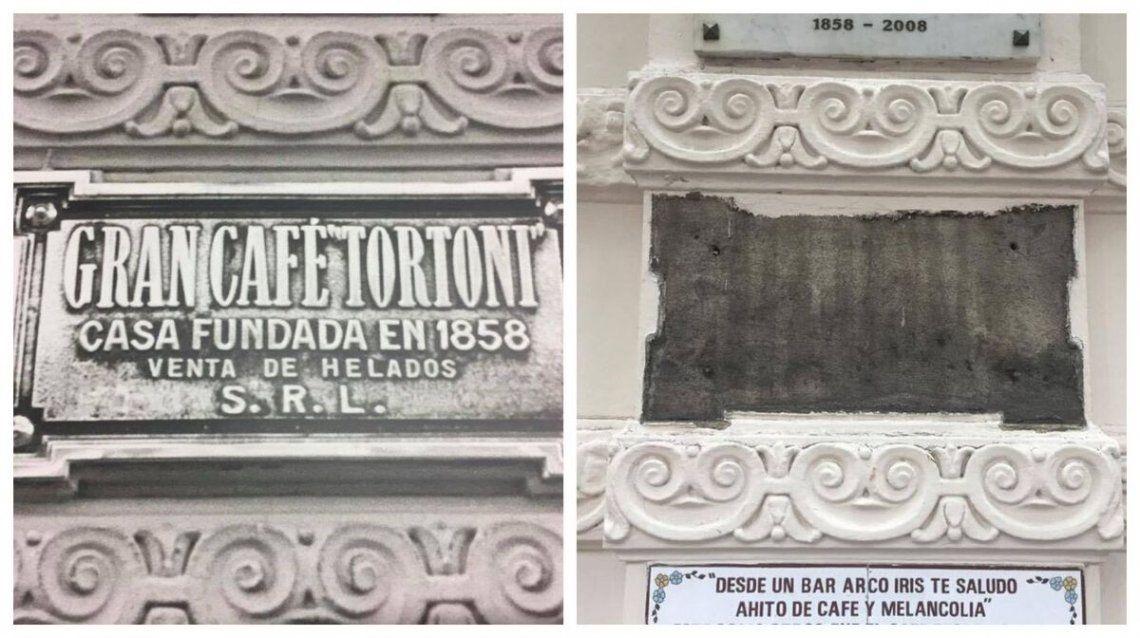 Antes y después: el robo de la placa fundamental del Café Tortoni.