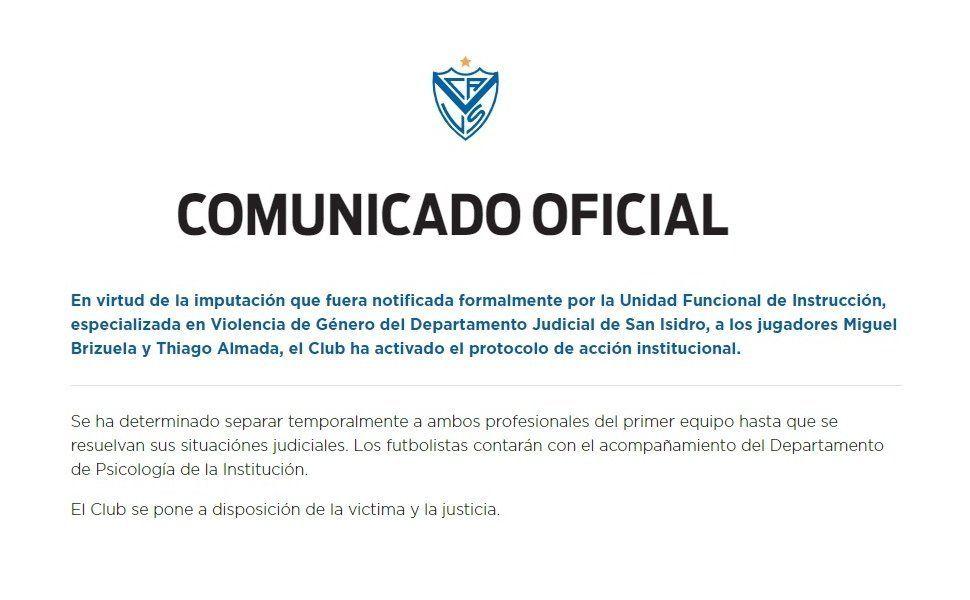 Vélez separó del plantel a los dos futbolistas.