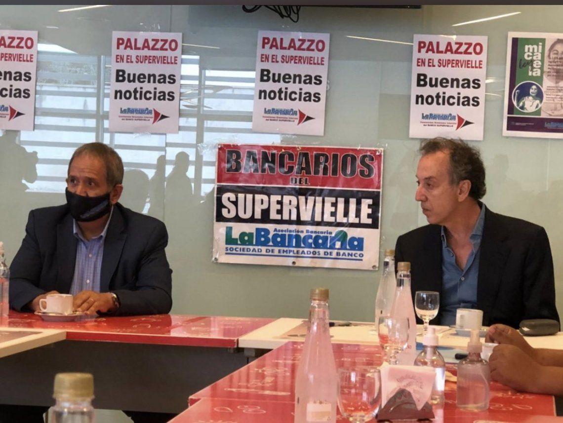 Sergio Palazzo (La Bancaria) y Patricio SUpervielle (pesidente del Banco Supervielle)