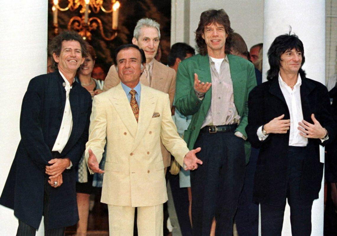 El presidente junto a los Rolling Stones.