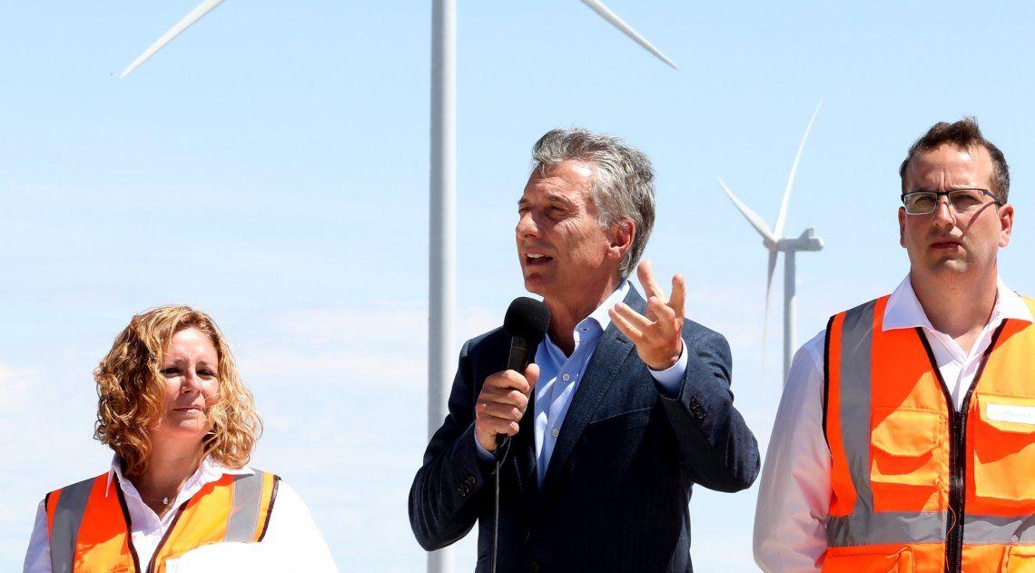 El presidente Mauricio Macri participó de la inauguración de diferentes Parques eólicos.