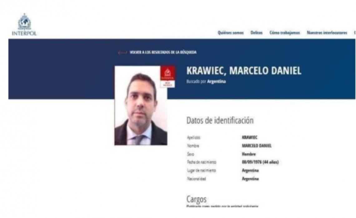 El pedido de Interpol a Israel para que extradite a Krawiec.