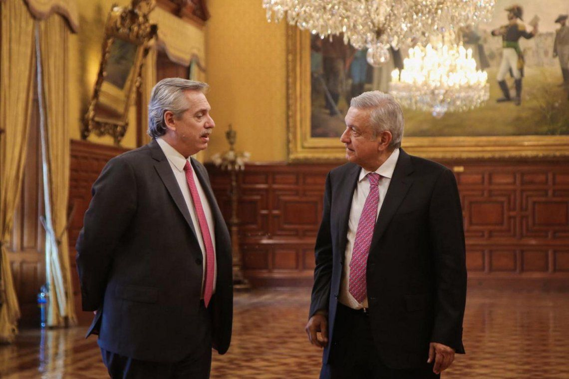 Alberto Fernández junto a Andrés Manuel López Obrador.