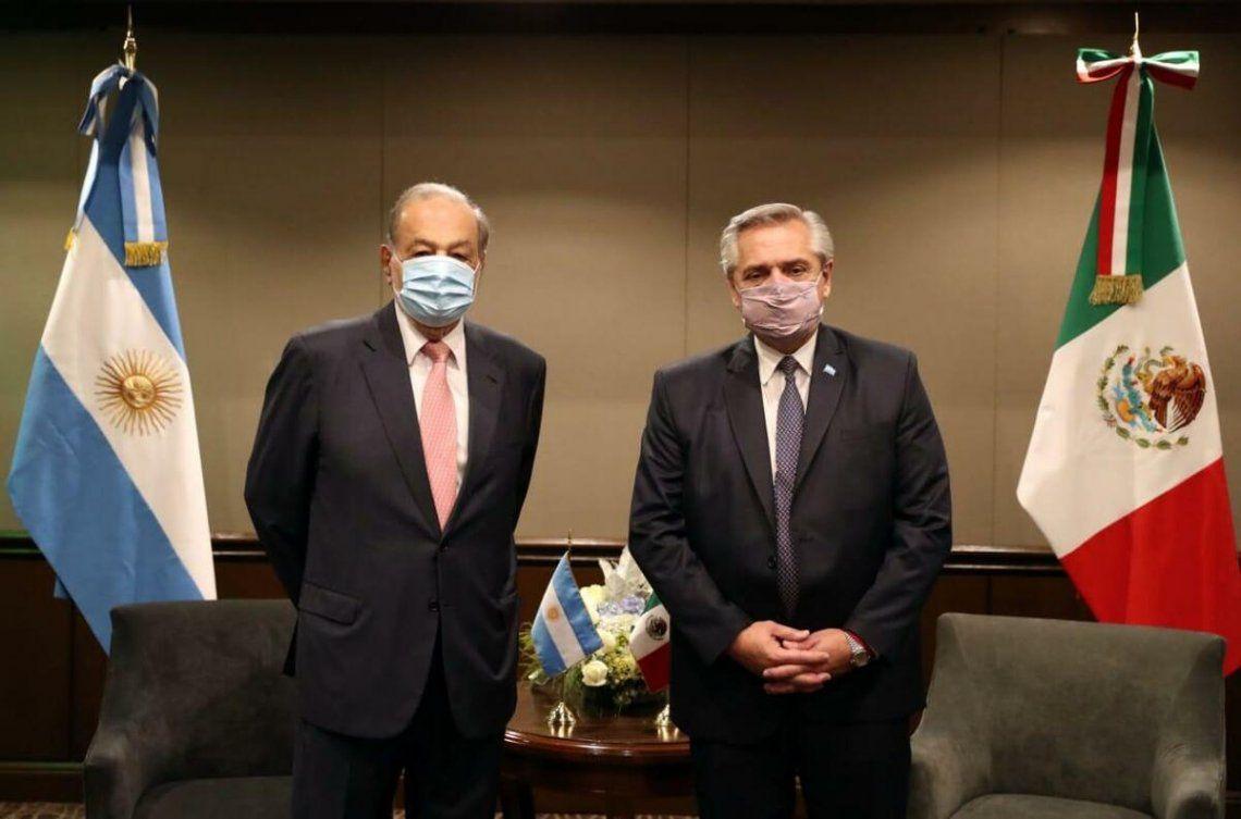 Carlos Slim y Alberto Fernández se reunieron en México.