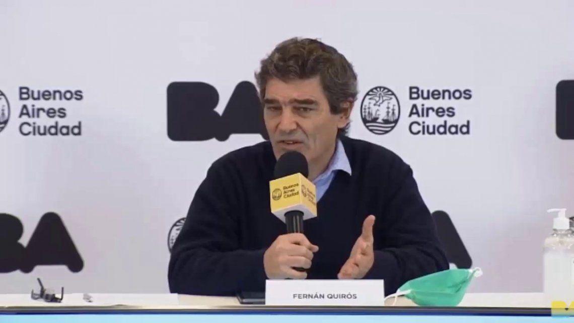 Fernán Quirós se mostró preocupado ante el aumento de casos sostenido de coronavirus en la Ciudad.