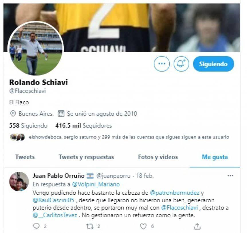 El like de Schiavi en Twitter.