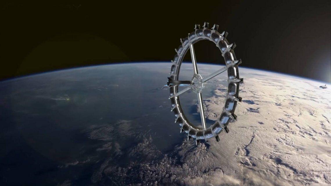 El hotel espacial tiene forma de rueda para producir una fuerza gravitatoria artificial.