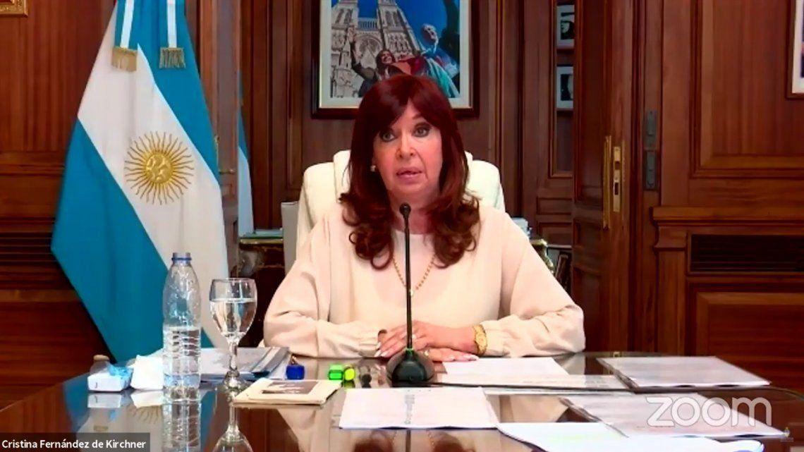 La vicepresidentaCristina Fernández de Kirchner declaró en la audiencia vía zoom.