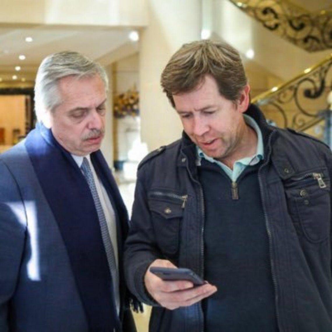 Juan pablo Biondi junto al presidente Alberto Fernández