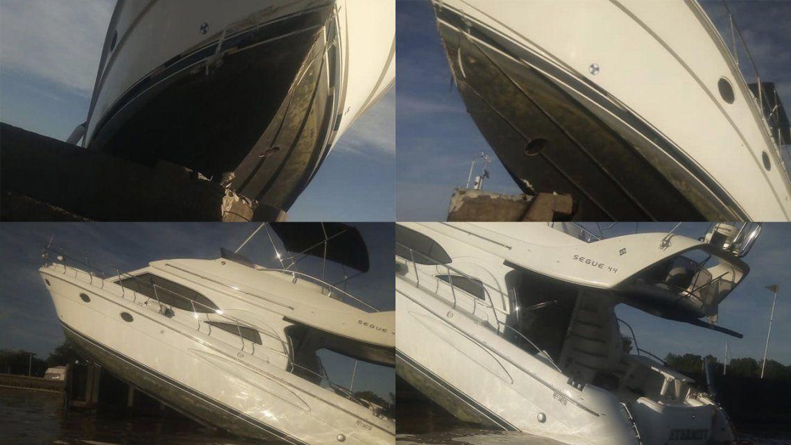 La embarcación quedó colgada de la escollera del Yacht Club Argentino de San Fernando.
