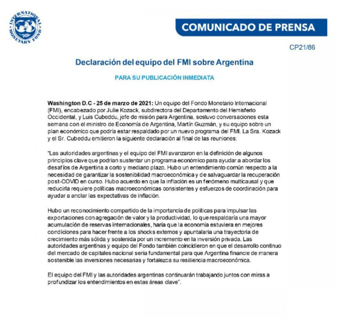 El comunicado del FMI