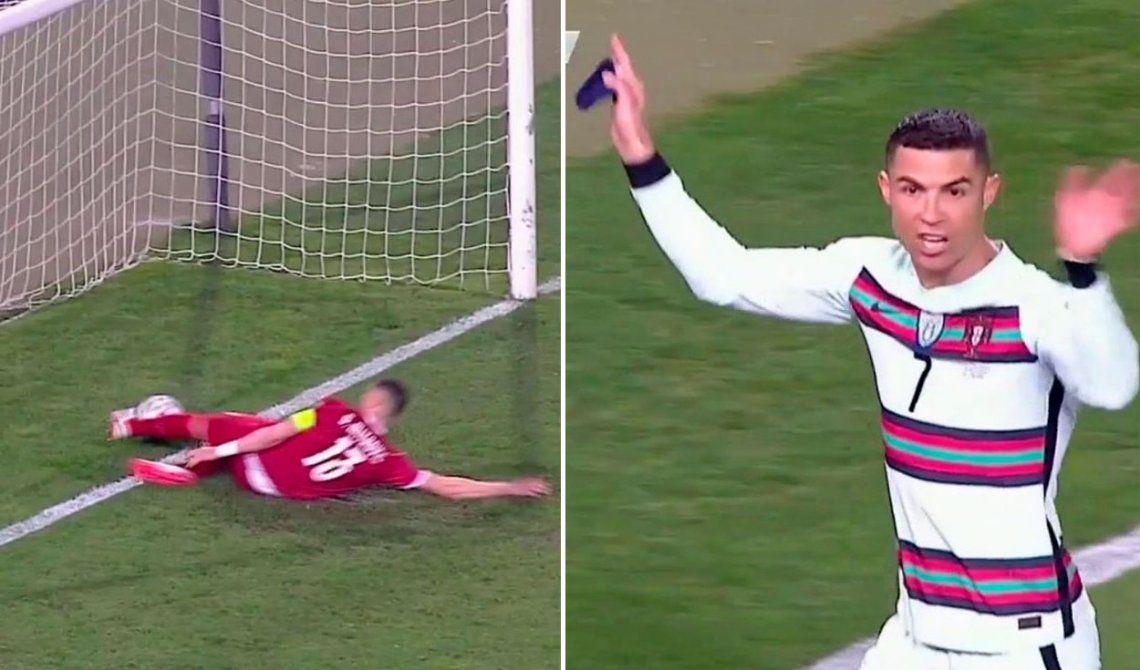 Cristiano Ronaldo estalló de bronca tras la mala anulación de su gol a Serbia.