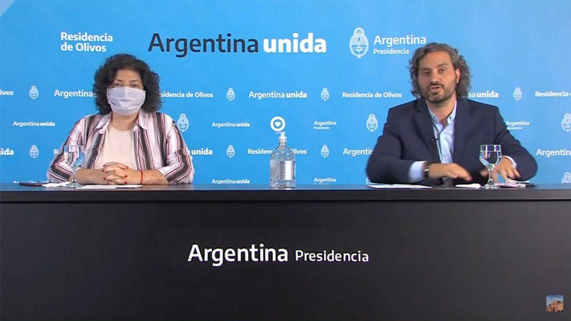 Cafiero y Vizzotti anunciaron una serie de medidas para paliar la suba de casos de coronavirus.