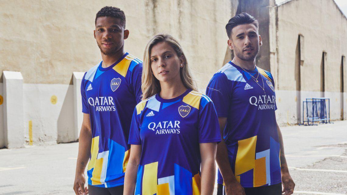 Imágenes de la tercera camiseta de Boca Juniors.
