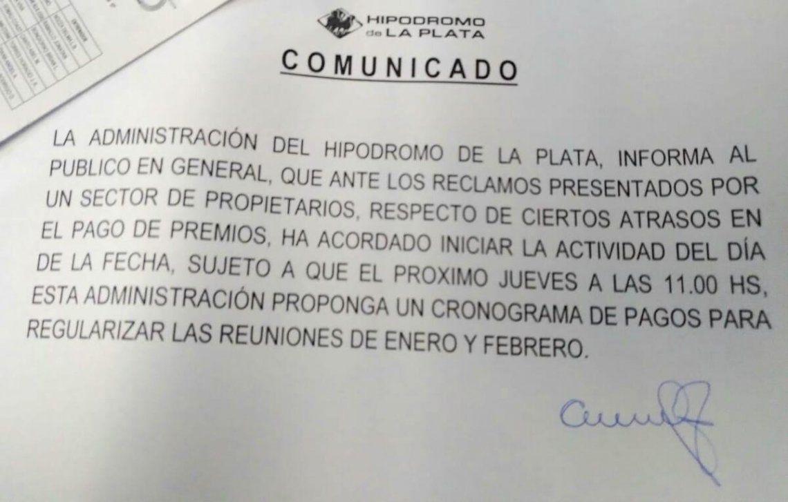 El comunicado de la Administración del Hipódromo de La Plata