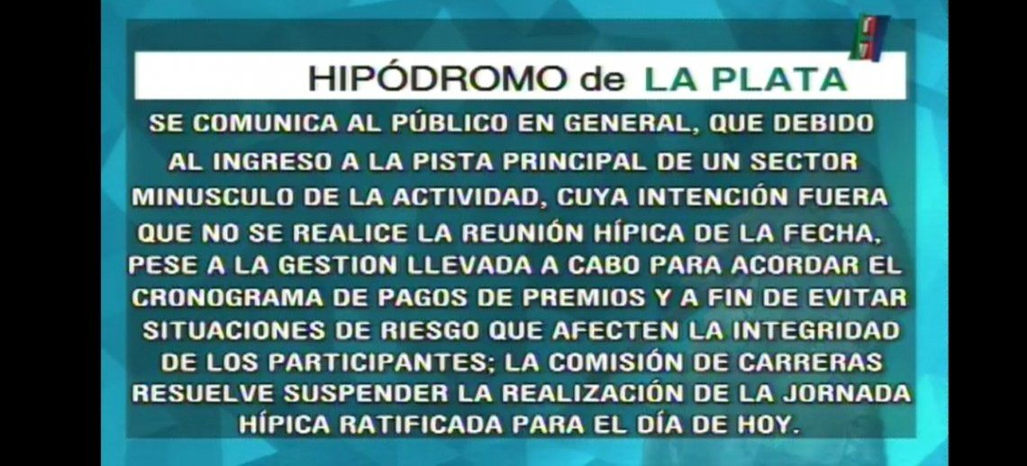 La Plata: suspenden las carreras por paro de propietarios