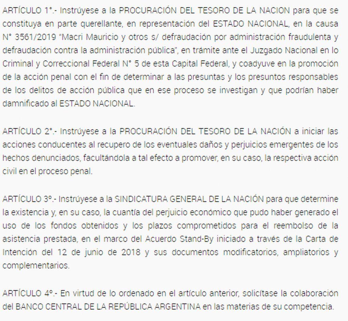 Fernández impulsa querella contra Macri por crédito del FMI