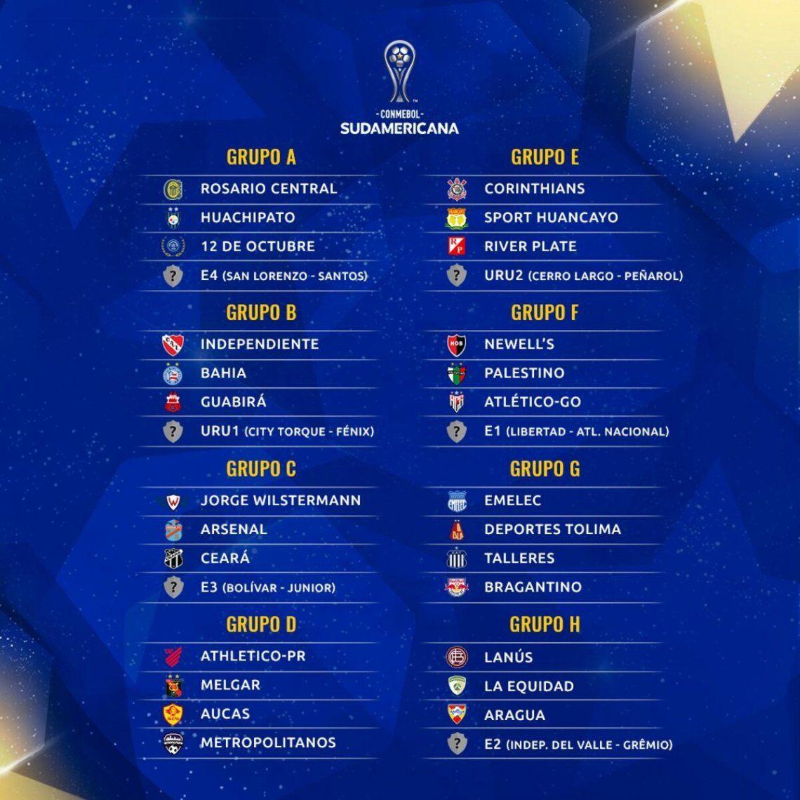 Así quedaron los grupos de la Copa Sudamericana.