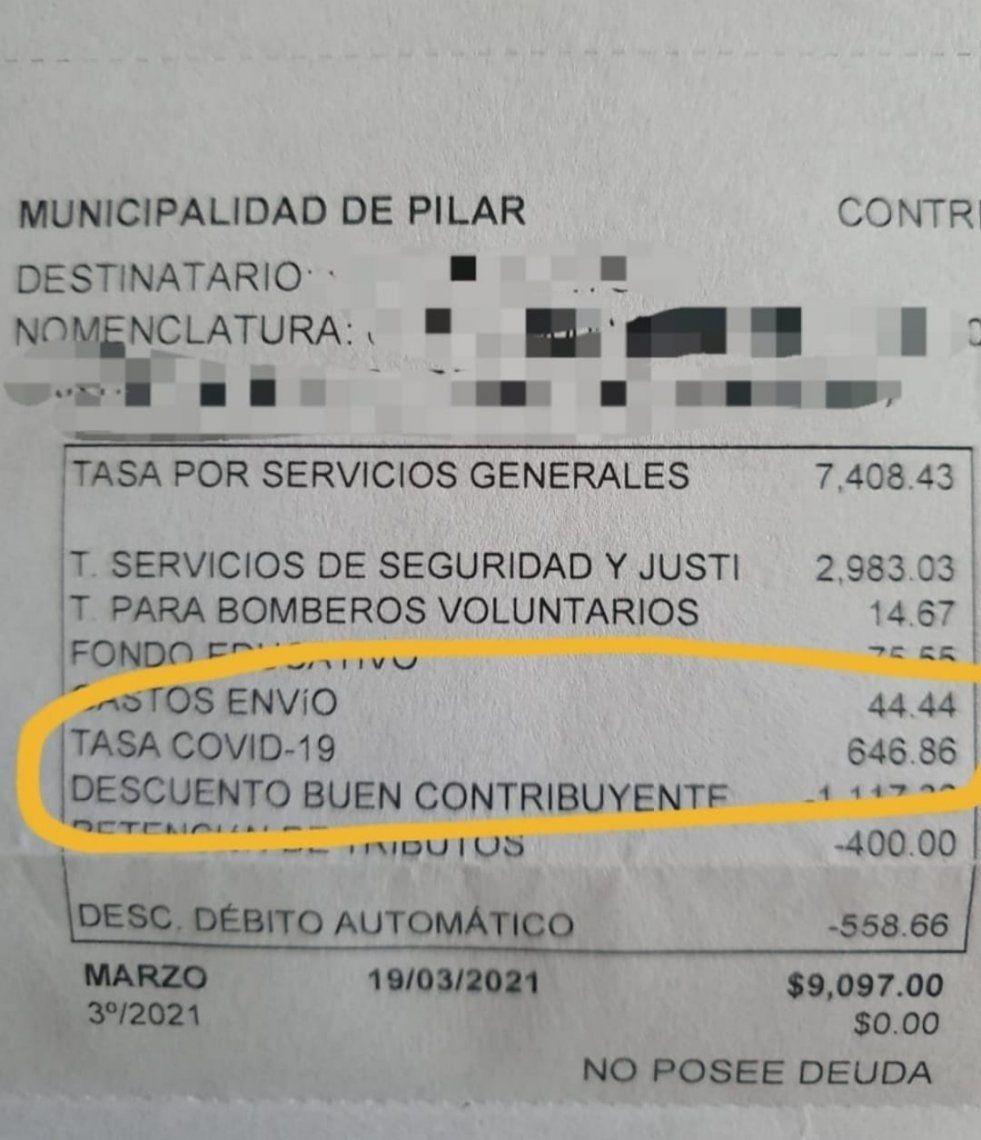 Pilar: El municipio cobra una tasa Covid-19