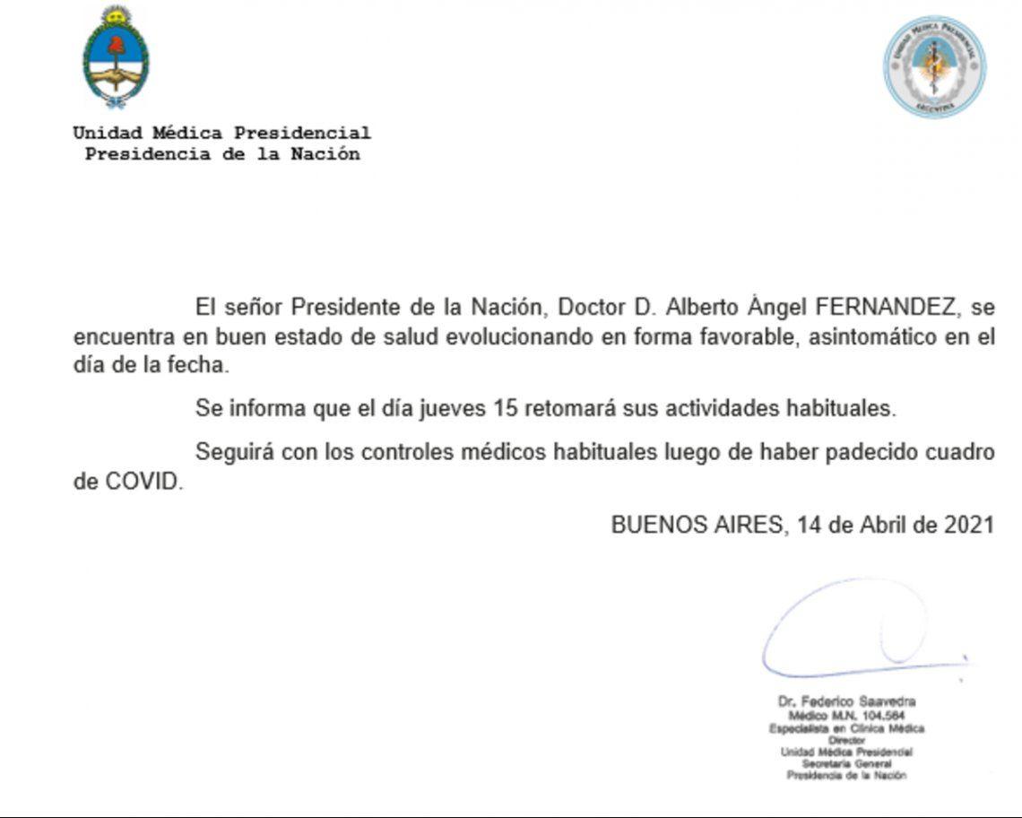 Alberto Fernández: el parte de la Unidad Médica Presidencial.