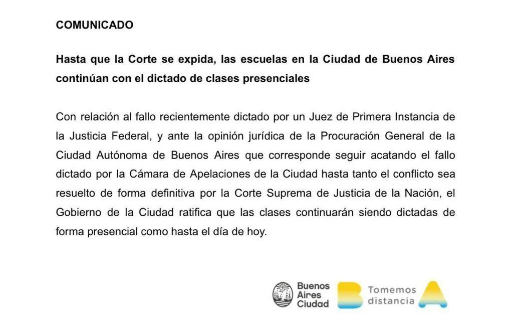Ciudad de Buenos Aires abrirá las escuelas