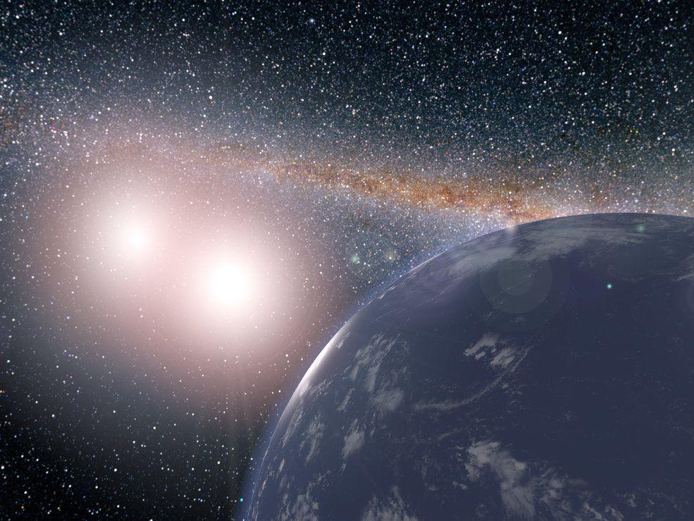 Representación artística del hipotético planeta cubierto de agua alrededor del sistema estelar binario de Kepler-35A y B. Créditos: NASA / JPL-Caltech / Siegfried Eggl