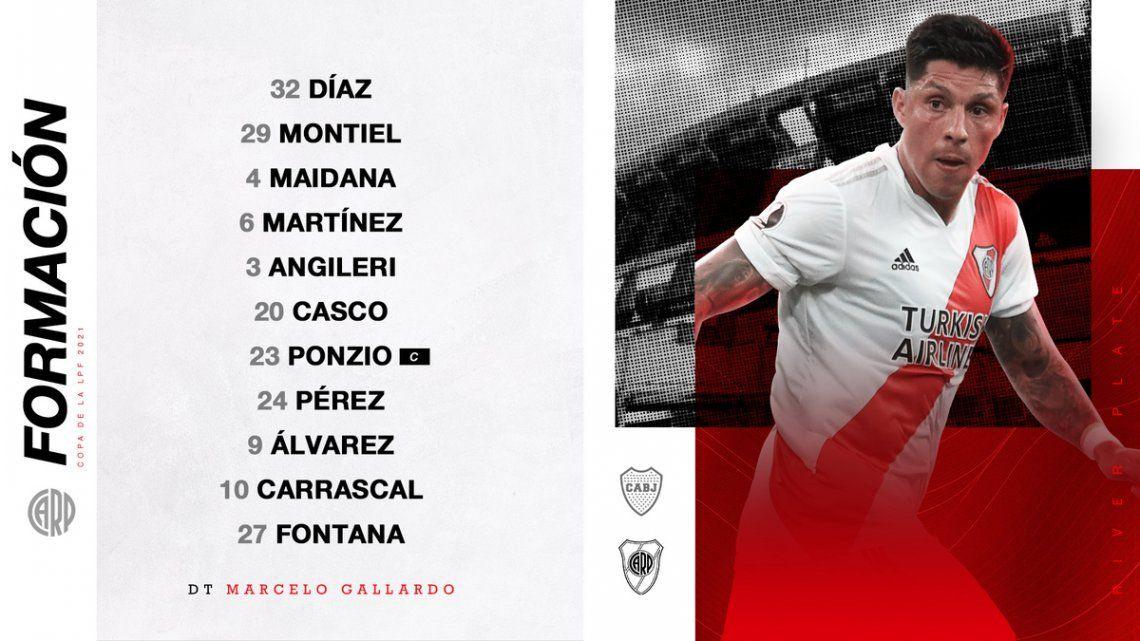 Los once de Marcelo Gallardo para enfrentar a Boca.