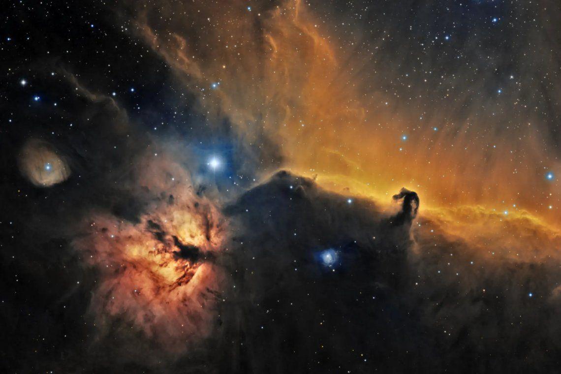 La famosa nebulosa Cabeza de Caballo se puede encontrar en la constelación de Orión (el Cazador)