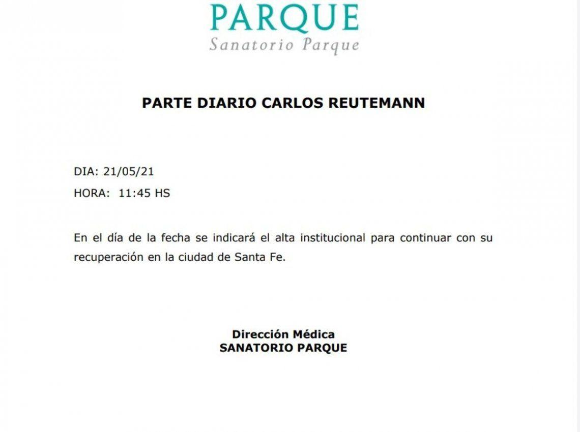 Parte médico de Carlos Reutemann.
