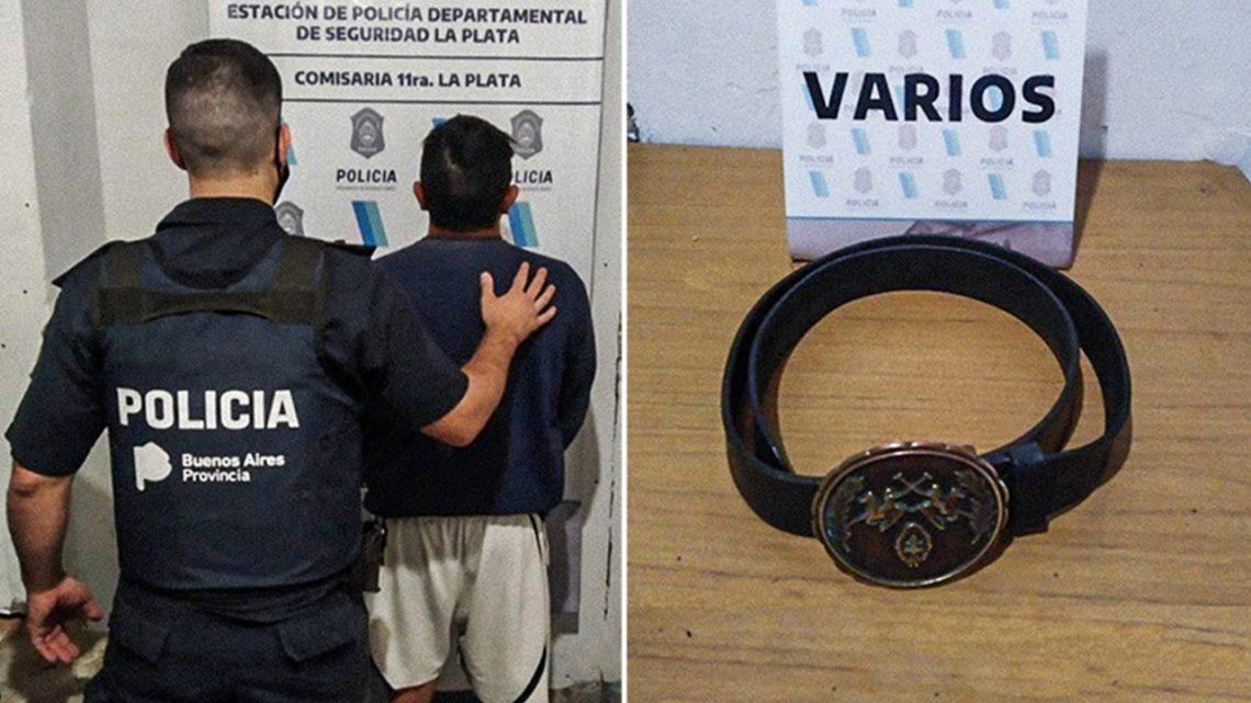 El detenido y el cinturón con el que castigó a sus dos hijas. Ocurrió en La Plata.