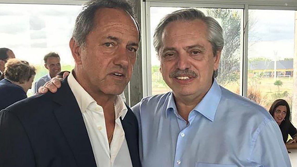 Daniel Scioli junto al presidente Alberto Fernández