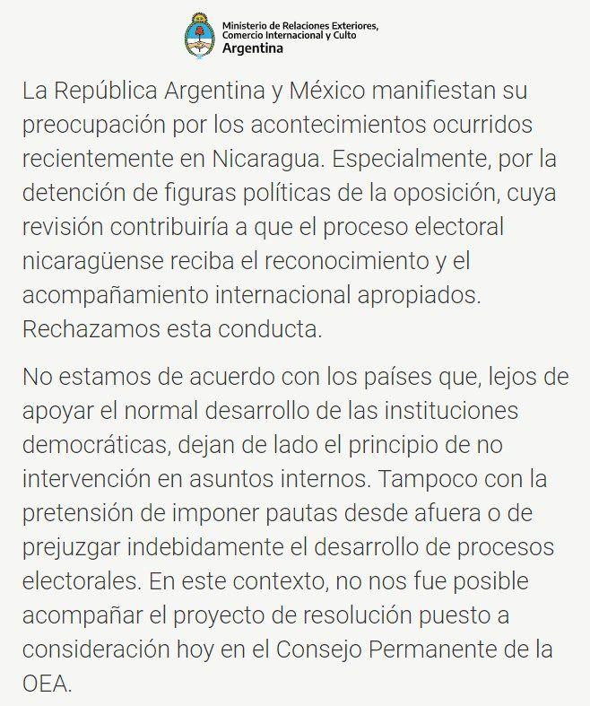 Argentina se abstuvo de condenar a Nicaragua en la OEA