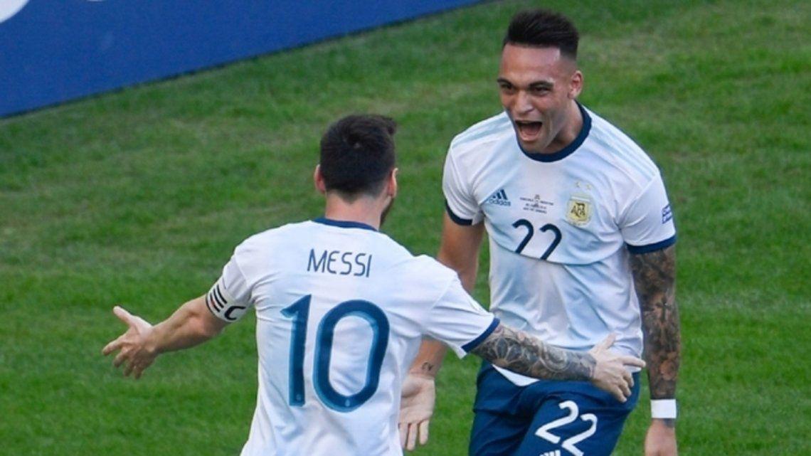 Messi y Lautaro Martínez