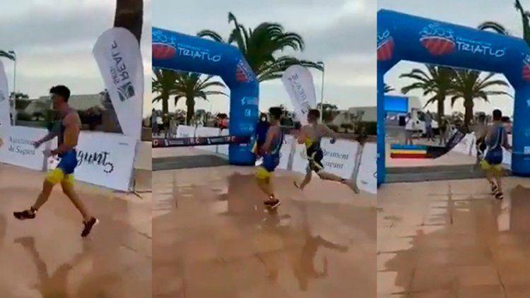 Atleta argentino festeja antes de tiempo y lo pasan a metros de la meta
