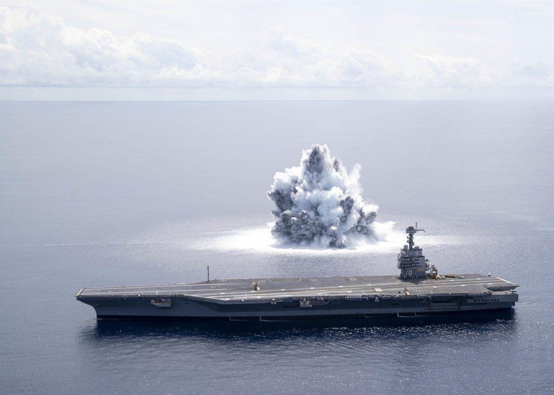 Una imagen de la detonación realizada el 18 de junio frente a las costas de Florida. Foto: Armada de EEUU.