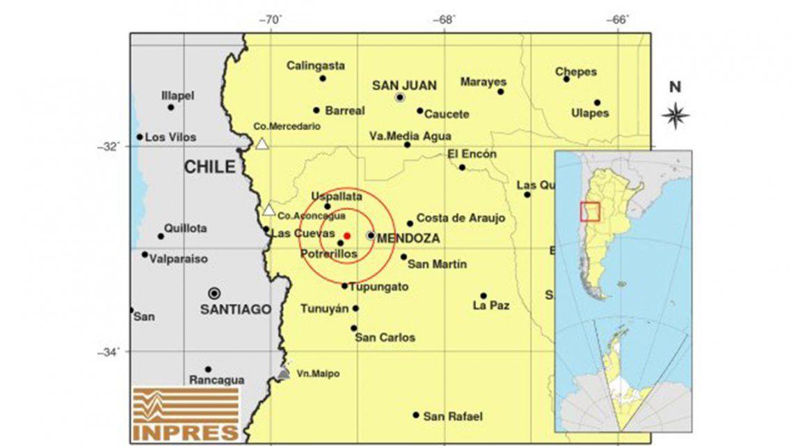 Mendoza: se produjeron dos sismos de casi 5 grados.