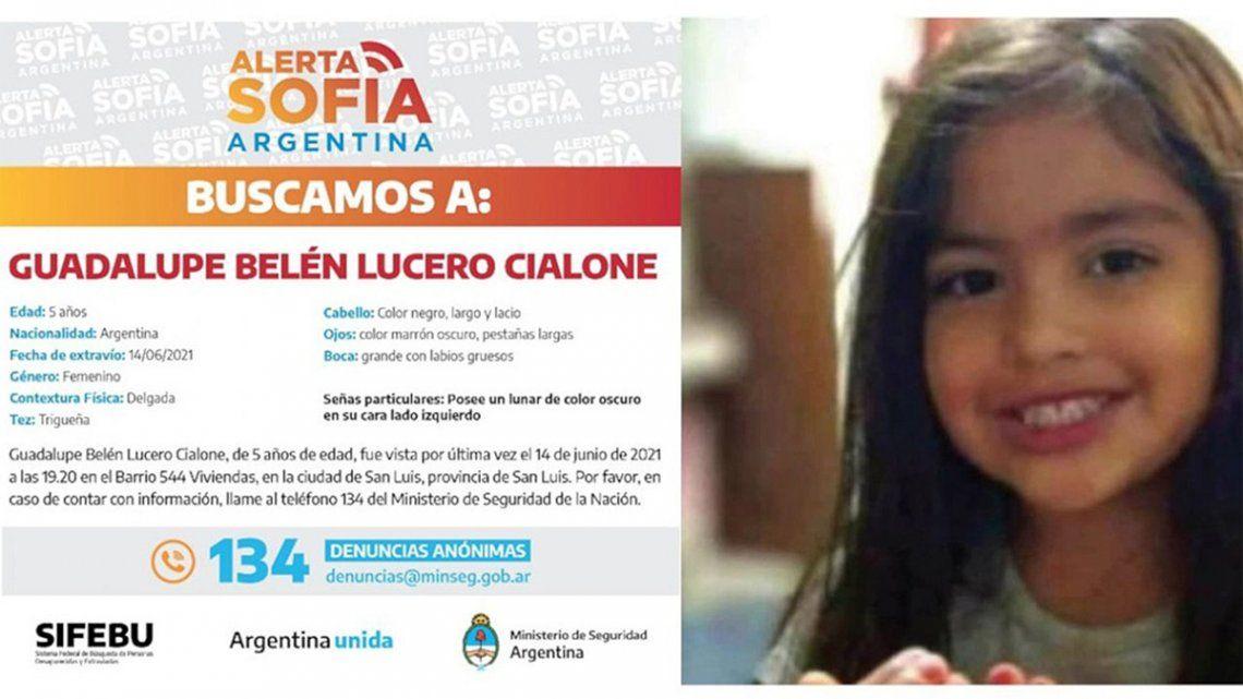 La niña de 5 años se encuentra desaparecida hace 17 días.