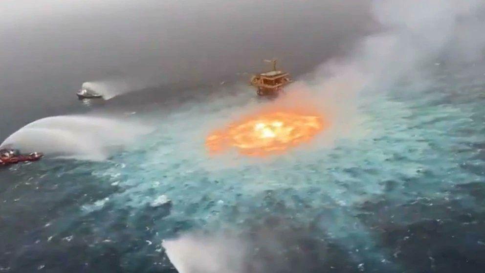 Incendio en el Golfo de México.