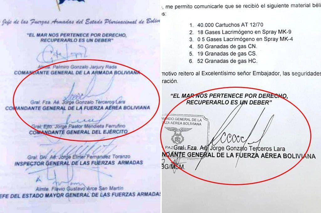 A la izquierda la nota de la renuncia de la cúpula de las FF.AA. y a la derecha la nota de agradecimiento que se usó como prueba de un supuesto envío de armas de parte del gobierno de Mauricio Macri a Bolivia.